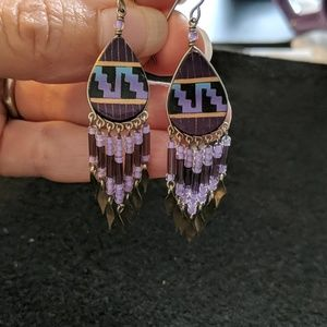 Native American style seed bead drop earrings